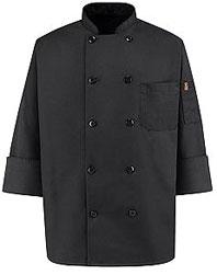 Ten-Button Black Chef Coat