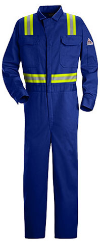 "Bulwark Excel-FRâ""¢ Flame Resistant Deluxe Contractor Coverall With Reflective Trim"