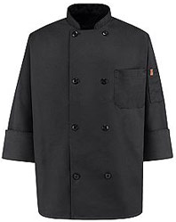 Eight Pearl-Button Black Chef Coat