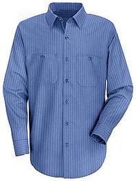 Men's Industrial Stripe Long Sleeve Broadcloth Work Shirt