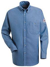 """Bulwark Excel-FRâ""""¢ Flame Resistant Button Front Denim Dress Uniform Shirt"""
