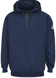 Bulwark Flame Resistant Pullover Hooded Fleece Sweatshirt with 1/4 Zip