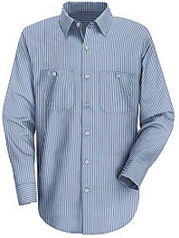 Men's Industrial Stripe Long Sleeve Mock Oxford Shirt