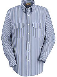 Men's Long Sleeve Mock Oxford Striped Dress Uniform Shirt