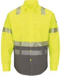 Bulwark Flame Resistant ComforTouch 7.oz Hi-Viz Color Block Uniform Shirt
