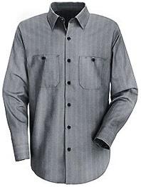 Men's Industrial Stripe Long Sleeve Work Shirt