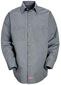 Men's Micro-Check Long Sleeve Work Shirt