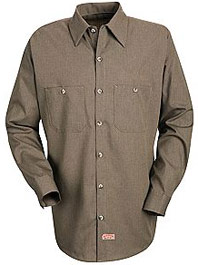 Men's Long Sleeve Geometric Micro-Check Work Shirt