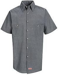 Men's Micro-Check Short Sleeve Work Shirt