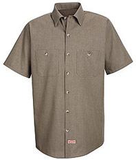 Men's Short Sleeve Geometric Micro-Check Work Shirt