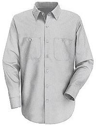 Men's Long Sleeve Poplin Striped Dress Uniform Shirt