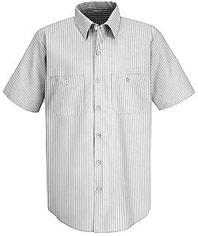 Men's Poplin Striped Short Sleeve Dress Uniform Shirt