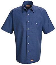 Men's Short Sleeve Mini Plaid Uniform Shirt