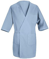 Collarless Butcher Wrap with Exterior Pockets